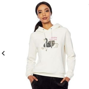 "G by Giuliana swan Hooded Sweatshirt w/ beading ""everybody loves a swan"" size XL"